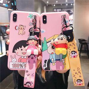 ل Iphone Xr Xs Max Phone Case Japanese Cute Cartoon Crayon Shinchan 6 7 8 X Plus TPU Matte Soft Cell Phone Cases