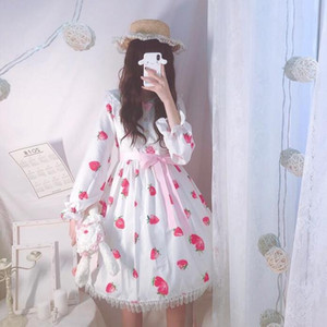 cute strawberry printing kawaii girl sweet lolita dress lace bowknot victorian dress party gothic lolita op cos loli