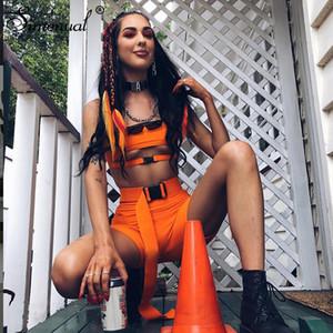 Simenual Streetwear hebilla atractiva caliente Dos conjuntos de piezas Mujeres Cut Out neón trajes de sport del color del motorista de verano pantalones cortos y Sets 2019