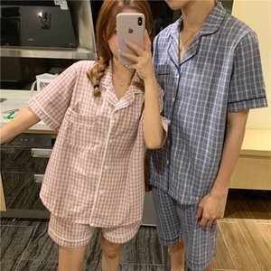 Couple comfortable pajamas 2020 Summer cotton loose plaid pajamas suit short-sleeved home clothes suit female