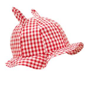 2020 primavera y el otoño de algodón cubierta de sombra delgada linda bebé a cuadros princesa sombrero de pescador sombrero cuenca