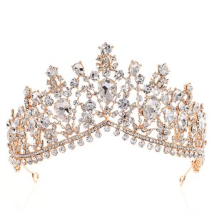 Lusso Strass Tiara Corone di cristallo accessori nuziali dei capelli copricapo da sposa Quinceanera Pageant Prom Queen Tiara Crown Princess