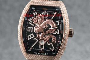 New Vanguard Yachting V45 Herren-Uhr-Diamant-Uhr Schweizer automatische mechanische 28.800 VPH-Saphir-Kristall Loong Dial Rose Gold 316L Stahl