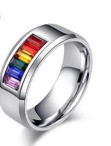 Europa y los Estados Unidos, anillo, anillo de acero inoxidable al por mayor del arco iris fino anillo de acero de titanio de acero joyería