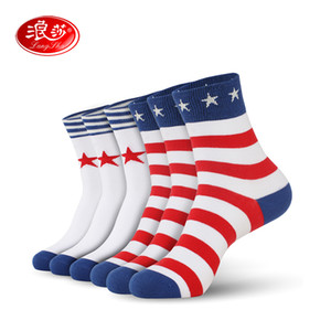 Men socks cotton man stripped and star colorful crew sock slippers Plus size (EU 39-46) (US 7.0-12.0) 6pairs lot Langsha