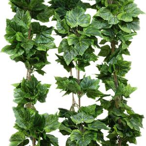 10pcs / Lot seta artificiale Grape Leaf Garland Faux Vine Ivy Indoor / Outdoor Home Decor Flower Wedding Green Leaves Decoration