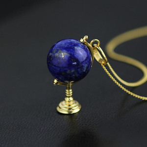 INATURE Natural Lapis Lazuli 3D Globe 925 prata pingente de colar para mulheres moda jóias Bijoux