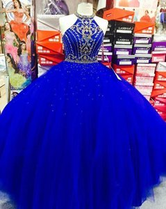 Real Image Royal Blue Prom Dresses Ball Gown Vestidos De Quinceanera 2020 High Neck Gold Crystal Beading Open Back Sweet 16 Girls Evening