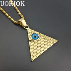 Pirámide egipcia de oro collares colgantes para hombres mujeres color oro acero inoxidable Illuminati Evil Eye of Horus Chains Jewelry C19041704