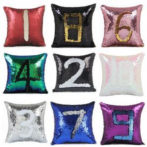 Mermaid Sequins Pillow Case Reversible Sequin Cushion Cover Glitter DIY Magic Pillows Cover Car Sofa Pillowcase Home Decorative 18Color ZYQ8