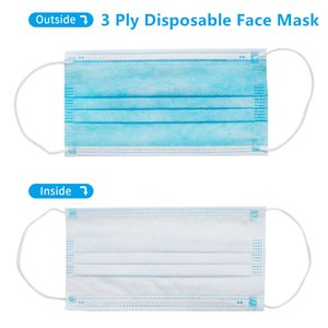 In Stock!! 50 Pcs lot 3 Ply Mask Disposable Face Mask Non-Woven Face Masks Dust Proof Mask Ply Respirator Mouth Masks