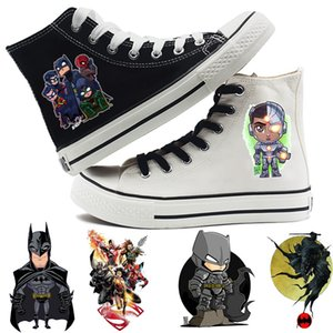 Justice League Batman Wonder Woman Cyborg printing Cartoon High Top Breathable Canvas Uppers Sneakers College Fashion Shoe Men