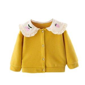 DFXD 2020 Spring Новорожденный Куртки Baby Girl Одежда Вышивка воротник Вязаные с длинным рукавом свитера кардигана пальто Новые Эпикировка 6M-3T