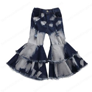 Baby Clothing Toddler Baby Kids Children Girl Clothes Bell Bottom Pants Flare Denim Jeans Pants Layered Hole Trousers 2-7T