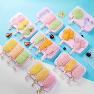 творческий силиконовый лед Popsicle плесень Самодельный снег тесто плесень мультфильм прекрасный лед клюшка плесень DIY мороженого инструменты T9I00324