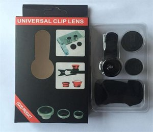 3 In 1 Universal Metal Clip Camera Mobile Phone Lens Fish Eye + Macro + Wide Angle with retail package for cell phones