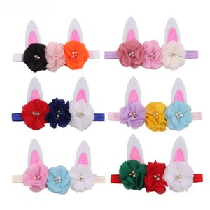 2020 Ostern Blumen-Baby-Stirnband-Mädchen Kaninchenohren Haarband Kinder Easter Bunny-Kostüm Nette Kinder-Haar-Zusätze 6 Arten Z0373
