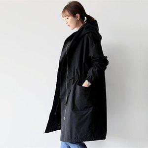 2019 Brasão New Autumn Fleece longo inverno Trench Womens Long Sleeve Casacos com capuz Coats Feminino Casual Brasão Streetwear
