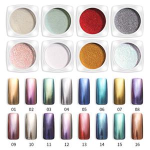 16 Couleurs Brillant Miroir poudre Nail Art Glitter Chrome Nail Art Dip poudre couleurs tour pigment manucure Mirror Nail Gel Polish Glitter Dust