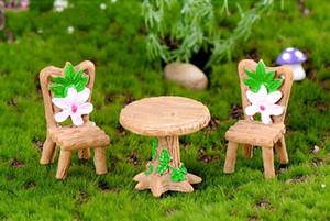 3 قطع الزهور الجدول الكراسي مصغرة المشهد الصغير الجنية حديقة دمية ديكور