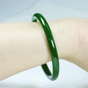Doğal Jade Jade Güzel Bilezik Kız Ispanak Yeşil Bilezik İnce Yuvarlak Kadınlar