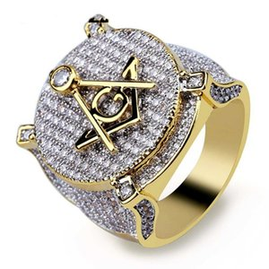 Europäische und amerikanische Mode-Retro AG Freimaurerei Ring Mikro eingelegte Zirkon Persönlichkeit Hip-Hop-männlich ring747