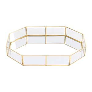 Nordic Style Glass Copper Geometry Storage Baskets Box Simplicity Style Home Organizer For Jewelry Necklace Dessert Plate(S)