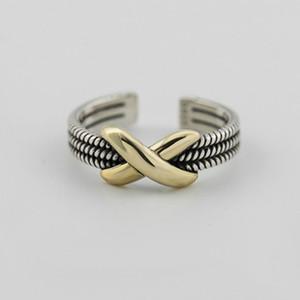 Autentico anello aperto in argento sterling 925 donne vintage Infinity oro tono metallo anelli di fidanzamento regolabile gioielleria YMR221