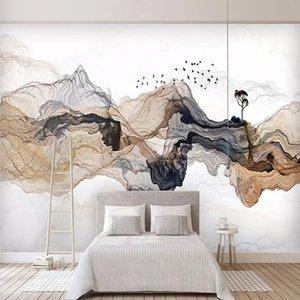 Fotoğraf Wallpaper Yeni Çin Stil Özet Mürekkep Peyzaj Resimleri Salon Yatak odası Arkaplan Duvar 3 D Papel De Parede Boyama