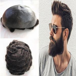 Тонкие Pu человеческих волос мужские Toupee Полный Pu тупею для мужчин Шиньон Тонкий Toupee кожи Замена натуральных волос Коричневый парик Система Wave Men