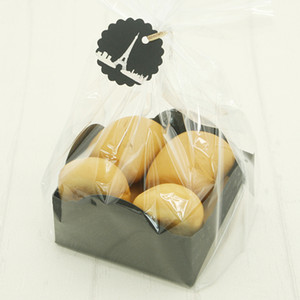 Food Grade PP Black Bread Packing Bag With Base Transparent Dessert Bag Window-Open Bakery Oil-Absorbing Food Packing Tools 20pc T200629