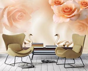 Ev Decor'un 3d duvar kağıdı Pembe Gül Kuğu Gölü HD Dijital Romantik İpek Wallpaper Baskı