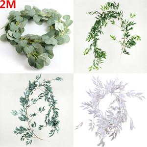 Falso artificial de eucalipto Garland hoja larga Plantas de follaje verde Decoración 2 m Simulación hojas de las plantas de ratán