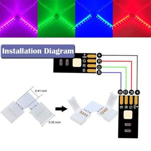 Nueva RGB 3528 Cable de cinta Conector de PCB Kit de 4 pines Franja de luz LED de recorte PCB adaptador, proporciona la mayor parte de piezas de bricolaje