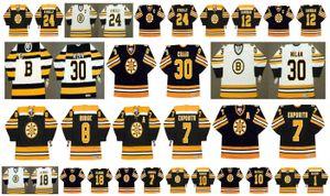 Maglia Boston Bruins vintage 30 CHRIS NILAN 8 KEN HODGE 7 PHIL ESPOSITO 24 Terry O'Reilly 12 WAYNE CASHMAN 18 Happy Gilmore CCM Retro Hockey