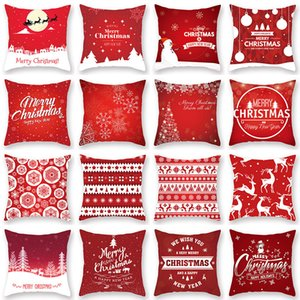 Christmas Red Pillow Case 45*45cm Christmas Cushion Cover Snowflake Merry Christmas Sofa Pillow Cushion Xmas Home Decor