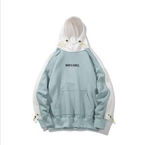 Sudaderas Hombre Nueva WhoCares Carta Hip-Hop Imprimir otoño camiseta de chándal Streetwear Pareja de Harajuku con capucha azul del cielo