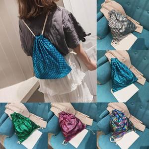 Mulheres Fish-Scale Padrão Bolsa de Ombro Messenger Bag com cordão Mochila neceser mujer Worek plecak sznurek # y4
