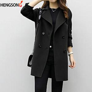 Abrigo de lana de las mujeres Nueva Moda Largo Largo Flojo Doble Tipo Slim Tipo Femenino Otoño Invierno Cálidas Warm Wool Mezclas