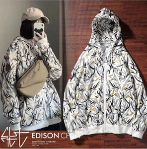 Mens fashion hoodies thorny print long sleeve sweater couple cardigan hooded jacket 2020 new tide brand