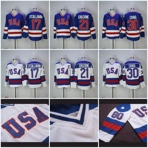 Mens 17 Jack O'Callahan 1980 Olympic Team USA Hockey Jersey 21 Mike Eruzione 30 Jim Craig USA Miracolo Nella alternativo annata Jersey