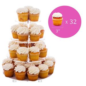 4 Nível Acrílico vidro redondo Bolo Stand-queque Stand Sobremesa stand-Tea Party prato de servir para Pés da festa de casamento com haste (4RF)