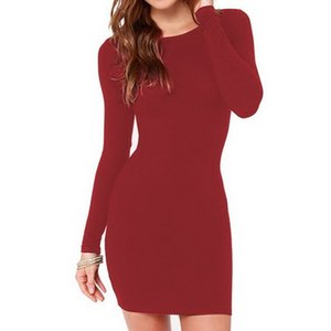 2019 New Fashion popular personality women's European and American fashion blockbuster, sexy, slim, all-round long-sleeved dress
