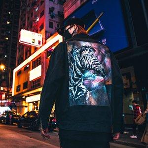 Chrisuno Beast her iki tarafta bir ceket ve polyester gevşek kollu siyah Khaki S-L bedeninde bir çiftin Chao ceketini giyiyor.