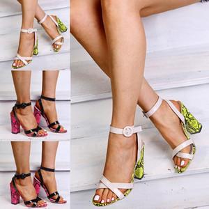 Eillysevens 2020 Novos sapatos Mulheres cobra impressa sandálias tornozelo Buckle Salto Alto Causal Sandals tamanho Plus femmes chaussures # g20