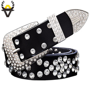 Fashion rhinestone genuine leather belts for women Unisex Designer luxury waist belt for men High quality second layer cowskin