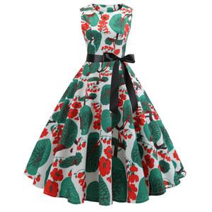 빈티지 50 대 60 년대 격자 무늬 헵번 드레스 여성 오 넥 레드 타탄 체크 레트로 핀 업 로커 빌리 스윙 드레스 새시 로브 Vestidos