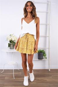 Kısa Modelleri Kadın Üstü Diz A Bağlantı Elbiseler Yüksek Waisted volanlı Yaz Elbise Çiçek Baskılı Plaj