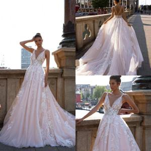 Blush Pink Backless Lace Wedding Dresses Apliques Sweep Train A Line V Neck Beach Wedding Dress Vestidos de novia bohemios sin respaldo por encargo