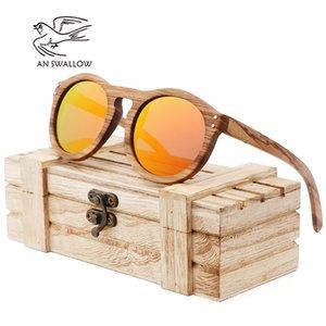 2018 Zebra hommes de style rétro en bois et les femmes lunettes de soleil cadre de forme ronde vertèbres UV400 lentille jaune Oculos Gafas Y200619